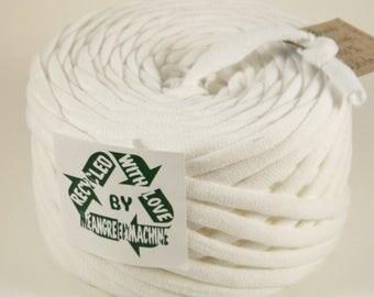 Recycled T-Shirt Yarn, Tee Yarn, White 27 Yards, T Yarn