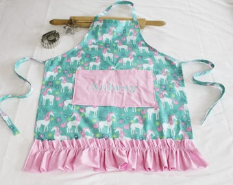 Personalized and Ruffled Unicorn Youth Apron with light pink pocket and ruffle - made to order