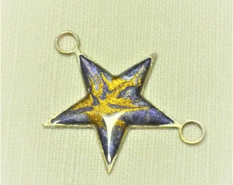 Star connector charm silver metal enameled 29mm