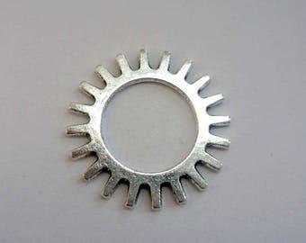Connector 25mm antique silver tone metal
