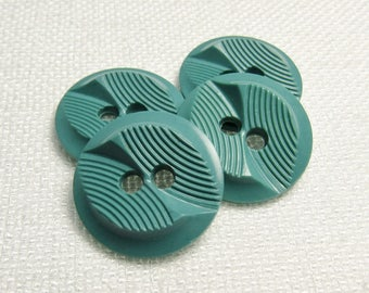 "Twist 'n Turn: 3/4"" (19mm) Textured Dark Cyan Buttons - Set of 4 Vintage Matching Buttons"