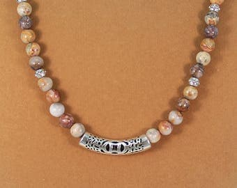 Crazy lace agate necklace, lace agate jewelry, agate gemstone necklace, gift for her.