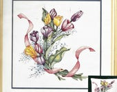Tulips and Ribbon Elsa Williams Counted Cross Stitch Kit 02047 Designed by Alice Wahl Unopened Kit for 14 x 14 Picture or Pillow
