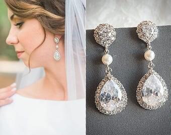 Crystal Teardrop Bridal Earrings, Wedding Jewelry, Pearl and Rhinestone Bridal Wedding Earrings, Zirconia Chandelier Bridal Earrings, ORLINA