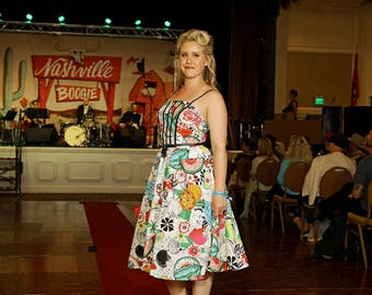 Garden Party Dress in Fruit Punch Print - Made in the USA - Tropical Spring Summer Derby Pinup Pin Up Rockabilly Floral 50's Southern Belle