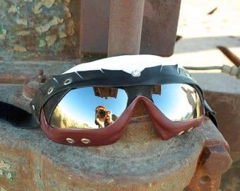 Handmade leather goggles. Burners shop here!