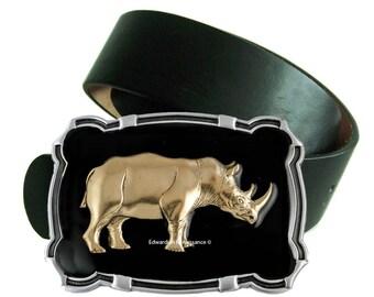 Large Belt Buckle Safari Rhinoceros Ornate Buckle inlaid in Hand Painted Black Enamel Large Rhino Embellished Buckle Custom Color Option