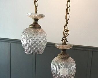 ON SALE Lighting Hanging Lights Glass Lights Vintage Lights