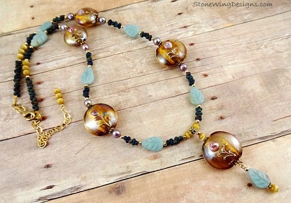 Amazonite, Yellow Lamp Glass and Lavender Pearls Necklace