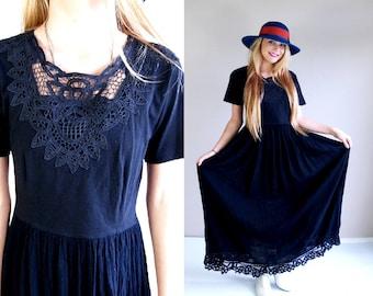vtg 80s black CROCHET LACE cut out Maxi DRESS Small boho goth hippie grunge gauzy sheer romantic