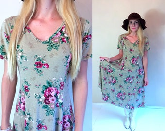 vtg 90s taupe CORSET floral roses print MIDI DRESS grunge Small/Medium boho hippie festival romantic