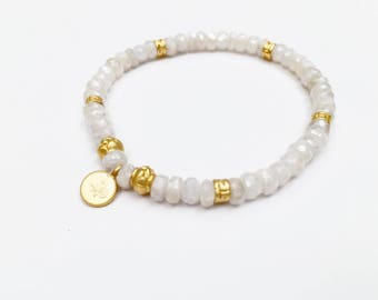 Silverite Beaded Bracelet with Gold Vermeil Charms