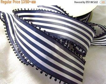 SHIPPING DELAY SALE 10% Navy Blue and White Striped Ribbon, Vintage Picot Ribbon, White and Dark Blue Taffeta Ribbon, Wide Ribbon, Picot Edg