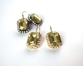 SHIPPING DELAY SALE 10% Light Yellow Swarovski Earrings, Yellow Crystal Earring, Citrine Crystal Jewelry, 18th century, 19th Century, Georgi