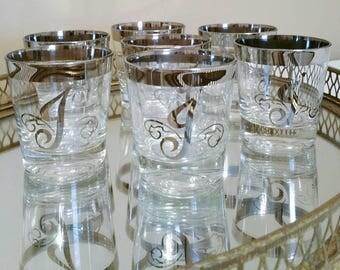 Monogram J Bar Glasses Silver Rim Bar Glasses Rocks Glasses Whiskey Glasses Vintage Bar Glasses Lowball Glasses 7 Set Gift For Man Barware