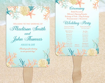 Beach Wedding Program Fans Printable or Printed/Assembled with FREE Shipping - Coral Reef Collection
