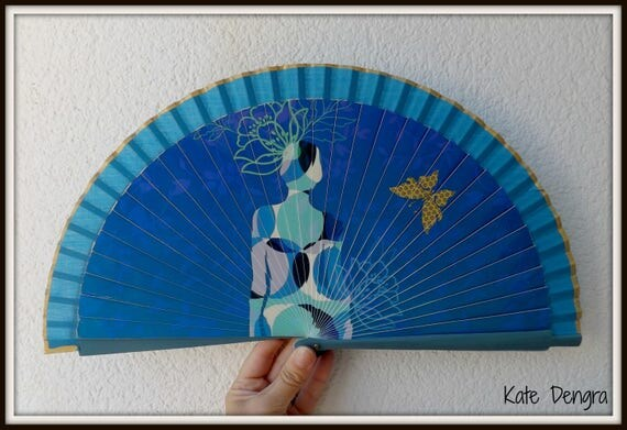 Electric Blue Hand Fan with Lady Design with Butterfly