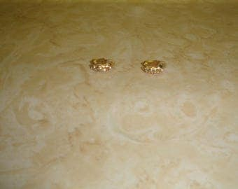 vintage clip on earrings goldtone half hoops rhinestones