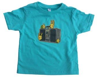 boombox kids shirt, music t-shirt, music kids t-shirt, kids gift, cute snail