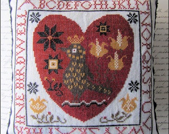 Pre-order 2018 Nashville Market KATHY BARRICK Pennsylvania PA Fraktur Heart counted cross stitch patterns at cottageneedle.com Mother's Day