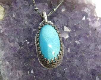 Simple Turquoise Pendant Necklace // Recycled Sterling Silver and Vintage Turquoise // Hand Crafted // Artisan // Eco Friendly