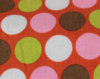 Rust Background with Pink, White, Green Large Dots Cotton Fabric by Riley Blake Designs. Dresses, Vintage Aprons, Quilts, Headbands Totes