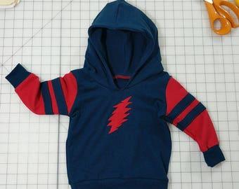 Grateful Dead Bolt Children's Hoodie, Sweatshirt, 13 Point lightning bolt, Grateful Dead Hoodie, Kid's Hoodie, Red and Blue Hoodie