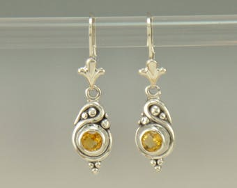 ER616- Sterling Silver Citrine Earrings- One of a Kind