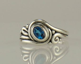 R1124- Sterling Silver Ring with Royal Blue Kyanite- One of a Kind