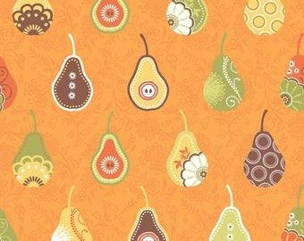 Samantha Walker Pears Fabric, Decadence by Samantha Walker for Riley Blake Fabrics, C2631 Pears in Orange