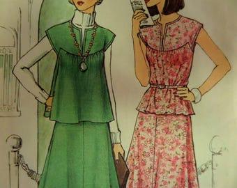 SHAPED YOKE TOP Pattern • Simplicity 7343 • Miss 16-18 • Short Top & Skirt Pattern • 2 pc Dress Pattern • Vintage Patterns • WhiletheCatNaps