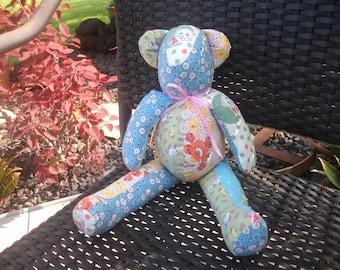shabby handmade patchwork bear-SALE