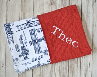 Monogrammed Baby Blanket, Red Minky Vintage Airplane Baby Blanket, Navy Blue and White Plane blanket with name, Personalized Gift Newborn
