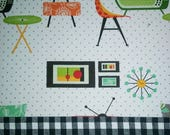 Diana custom order one Valance RETRO ATOMIC ROOM with check & green band unlined