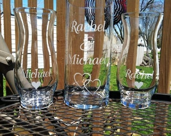 3 Piece Personalized Sand Ceremony set  Wedding Ceremony  Names 1 Large Vase 2 small vases with hearts