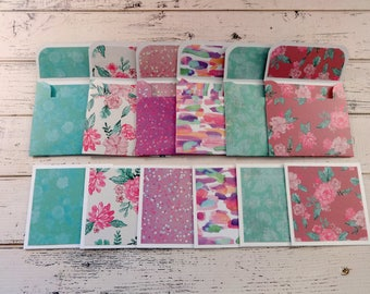 Mini Note Cards, Mini Note Card Set, 3x3 Note Cards, Mini Envelopes, Set of 6 Mini Note Cards with Envelopes, Purple and Teal Floral