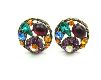 Weiss Earrings. Multi Color Jewel Tone Rhinestones. Ruby Red Green Blue Topaz Clusters. Clip Ons. Older Weiss Mark. Vintage 1950s Jewelry.