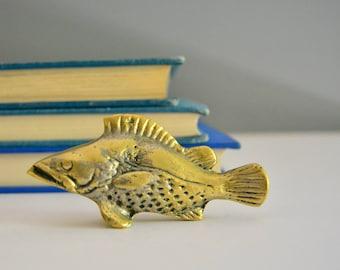 Small Brass Fish Figurine - Tiny Paperweight Sculpture Coastal Nautical Decor Rock Fish Bass Fisherman