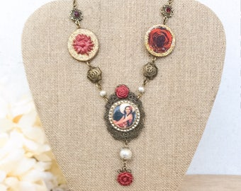Mexican Pin Up Necklace, Photo Assemblage Pendant Necklace, Red Flower Statement Necklace