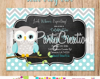 TEAL GREY OWL invitation - You Print -  for birthday or baby shower