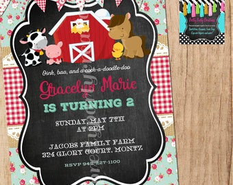 shabby chic BARNYARD CHALK invitation - customizable - You Print