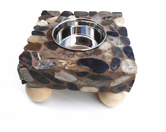 Stone Single Bowl Elevated Dog Feeder, dog water station, raised dog bowl, elegant doggie diner, medium to large dog bowl