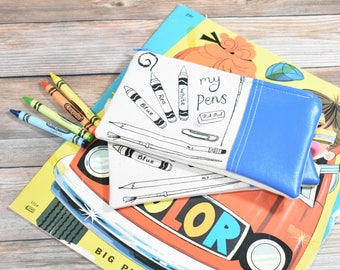Set of 2 Pencil Cases, Back to School, color pencil case,  Pencil Pouch, Organic Pencil Case, Kids Pencil Case, Pencil Holder, zipper pouch