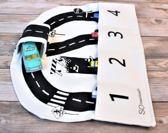 Car Playmat, Roads Playmat, Boys Travel toys, roads activity mat, travel game, toy car storage, gift for boys, roll up play mat, toy for boy