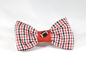 Preppy Black and Red Gingham Game Day Dog Bow Tie,  University of Georgia UGA Bulldogs Football