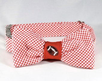 Preppy Red Gingham NC State Game Day Bow Tie Dog Collar, North Carolina State Football