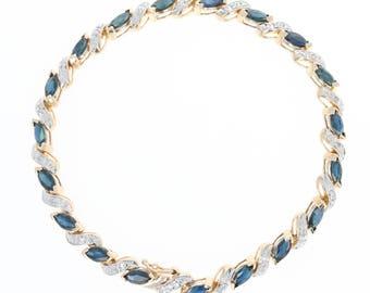 "Sapphire & Diamond Tennis Bracelet 6 3/4"" - 14k Gold Marquise Brilliant 6.56ctw U1696"