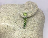 Vintage Handmade Sterling Silver genuine green peridot and Chrome Diapside earrings