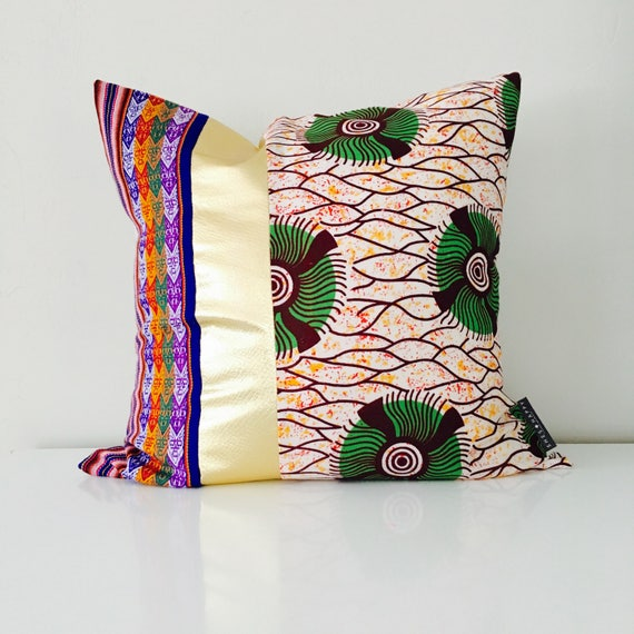 "Boho Throw Pillow Cover 20""x20"" Square African Fabric Green Abstract Floral Purple Colorful Embroidered Ethnic Tribal Pillow Metallic Gold"