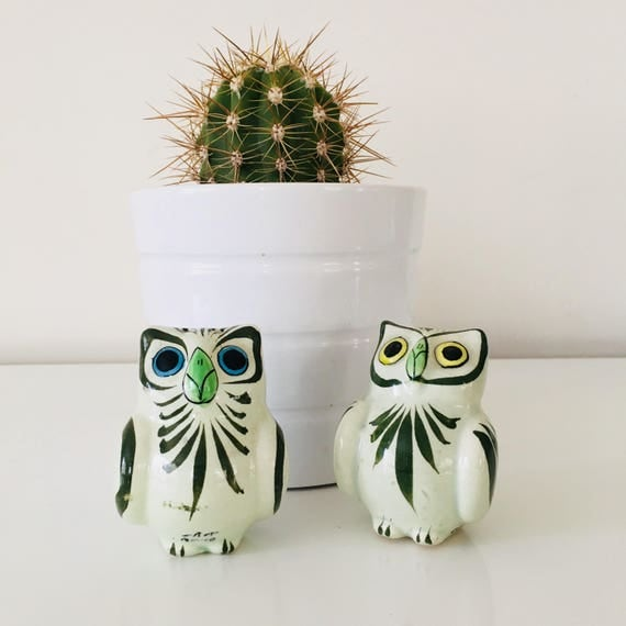 Vintage Owl Salt and Pepper Shakers Hand Painted Ceramic Owl Collectibles Made in Mexico Green Bird Shakers